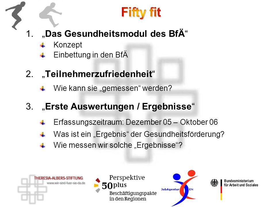 1.Das Gesundheitsmodul des BfÄ Konzept Einbettung in den BfÄ 2.Teilnehmerzufriedenheit Wie kann sie gemessen werden? 3.Erste Auswertungen / Ergebnisse
