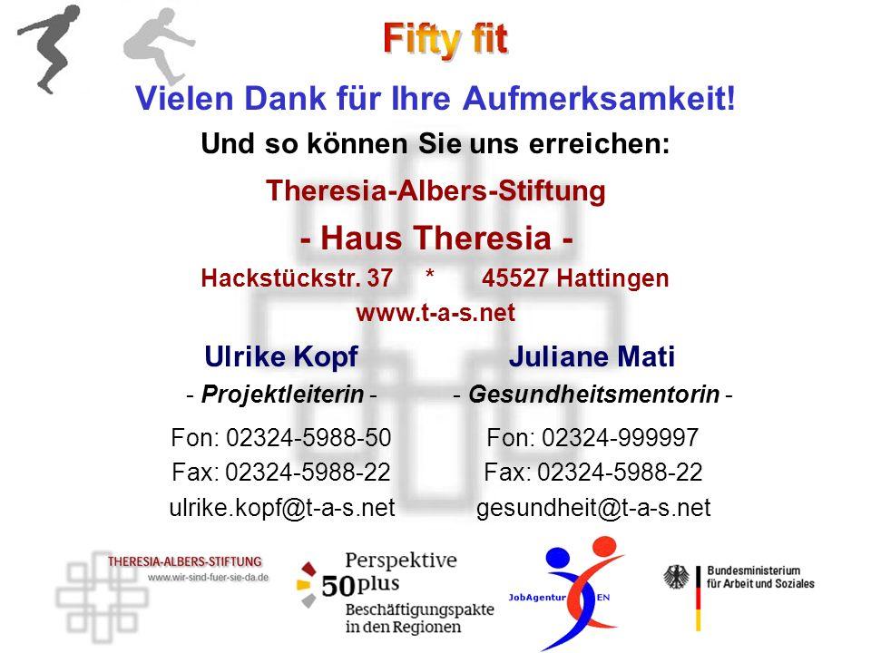 Vielen Dank für Ihre Aufmerksamkeit! Und so können Sie uns erreichen: Theresia-Albers-Stiftung - Haus Theresia - Hackstückstr. 37 * 45527 Hattingen ww