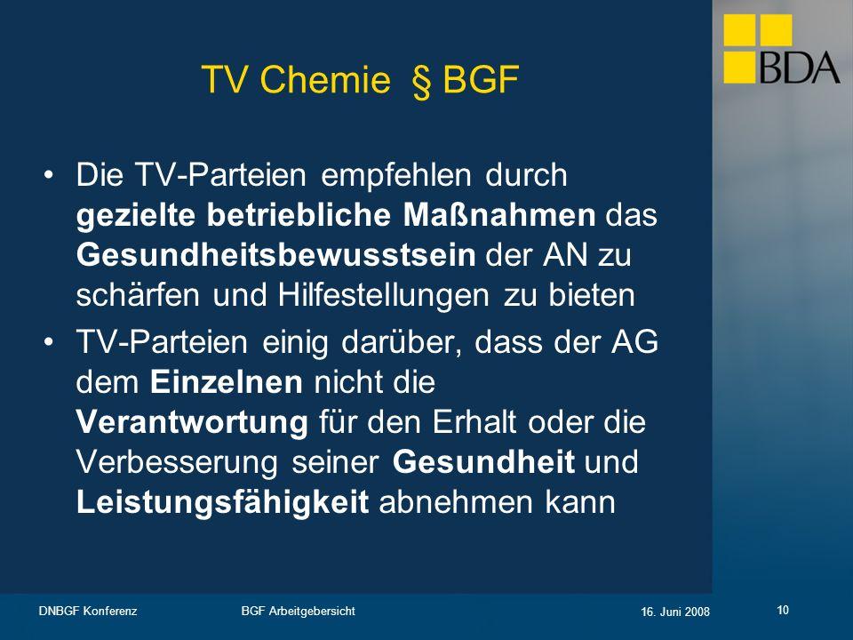 BGF Arbeitgebersicht 16. Juni 2008 DNBGF Konferenz 10 TV Chemie § BGF Die TV-Parteien empfehlen durch gezielte betriebliche Maßnahmen das Gesundheitsb