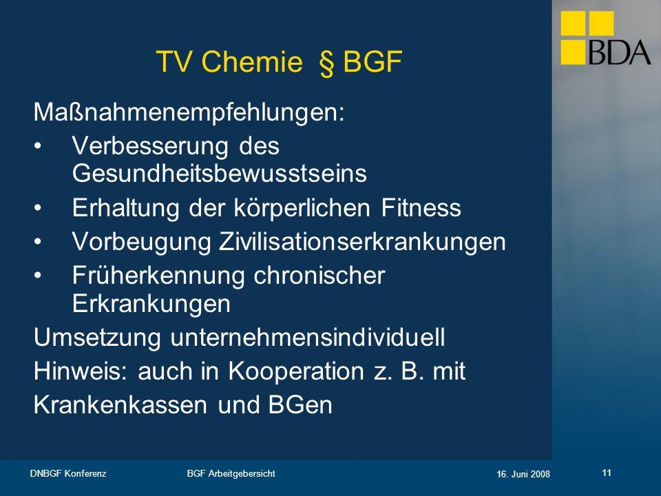 BGF Arbeitgebersicht 16. Juni 2008 DNBGF Konferenz 11 TV Chemie § BGF Maßnahmenempfehlungen: Verbesserung des Gesundheitsbewusstseins Erhaltung der kö