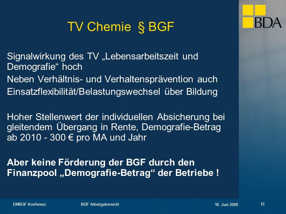 BGF Arbeitgebersicht 16. Juni 2008 DNBGF Konferenz 12 TV Chemie § BGF Signalwirkung des TV Lebensarbeitszeit und Demografie hoch Neben Verhältnis- und