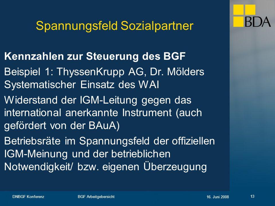 BGF Arbeitgebersicht 16. Juni 2008 DNBGF Konferenz 13 Spannungsfeld Sozialpartner Kennzahlen zur Steuerung des BGF Beispiel 1: ThyssenKrupp AG, Dr. Mö