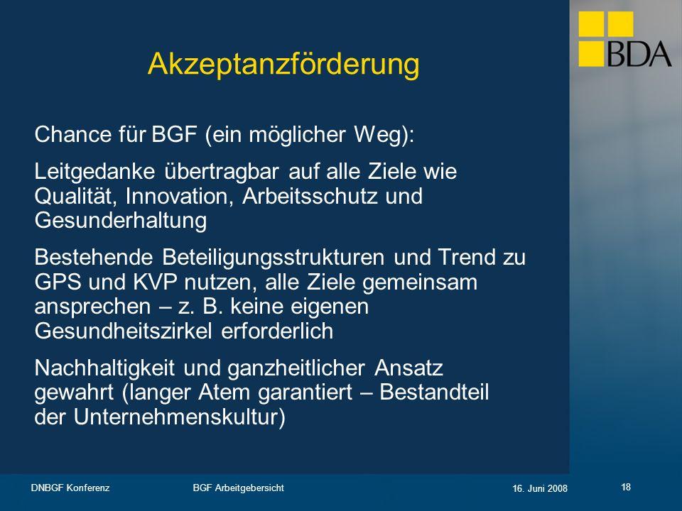 BGF Arbeitgebersicht 16. Juni 2008 DNBGF Konferenz 18 Akzeptanzförderung Chance für BGF (ein möglicher Weg): Leitgedanke übertragbar auf alle Ziele wi
