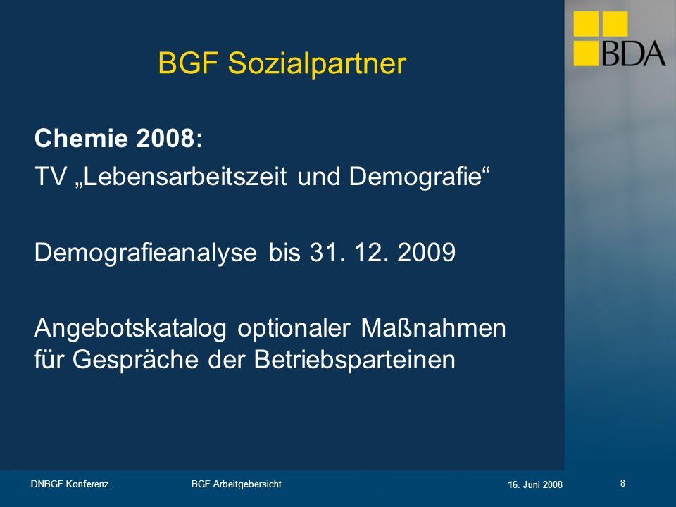 BGF Arbeitgebersicht 16. Juni 2008 DNBGF Konferenz 8 BGF Sozialpartner Chemie 2008: TV Lebensarbeitszeit und Demografie Demografieanalyse bis 31. 12.