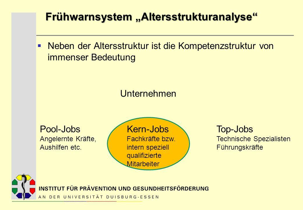 Frühwarnsystem Altersstrukturanalyse Neben der Altersstruktur ist die Kompetenzstruktur von immenser Bedeutung Unternehmen Pool-Jobs Angelernte Kräfte