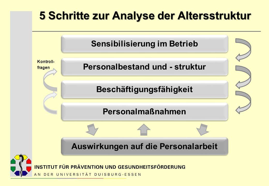 5 Schritte zur Analyse der Altersstruktur Kontroll- fragen Sensibilisierung im Betrieb Personalbestand und - struktur Beschäftigungsfähigkeit Auswirku