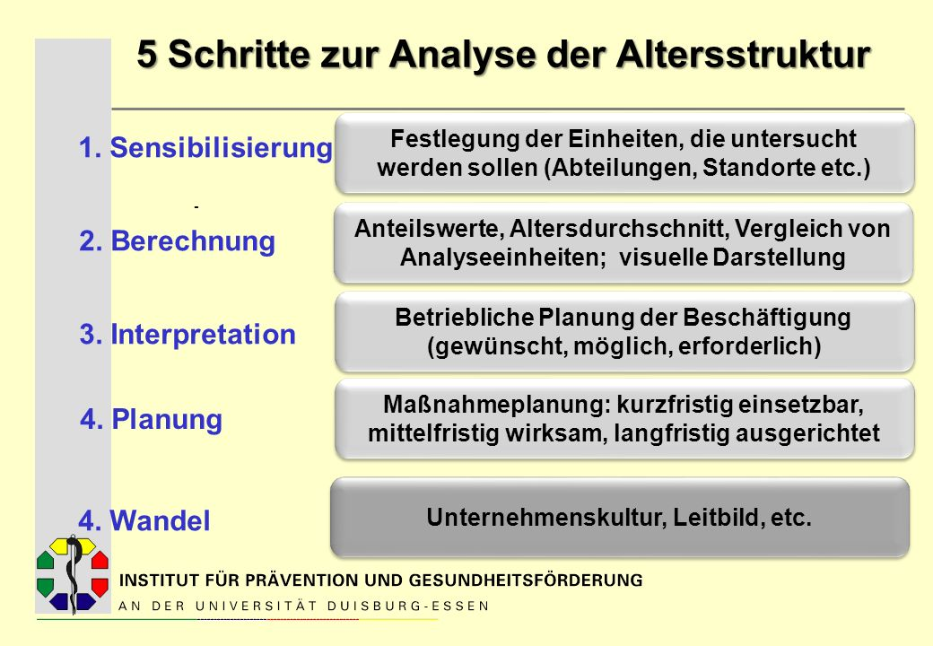5 Schritte zur Analyse der Altersstruktur - Festlegung der Einheiten, die untersucht werden sollen (Abteilungen, Standorte etc.) Betriebliche Planung