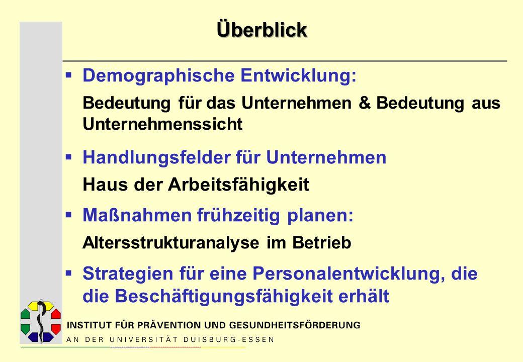 Überblick Demographische Entwicklung: Bedeutung für das Unternehmen & Bedeutung aus Unternehmenssicht Handlungsfelder für Unternehmen Haus der Arbeits