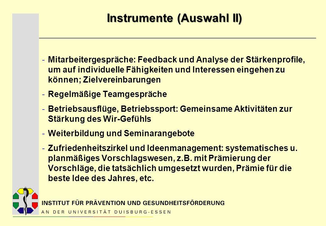 Instrumente (Auswahl II) -Mitarbeitergespräche: Feedback und Analyse der Stärkenprofile, um auf individuelle Fähigkeiten und Interessen eingehen zu kö