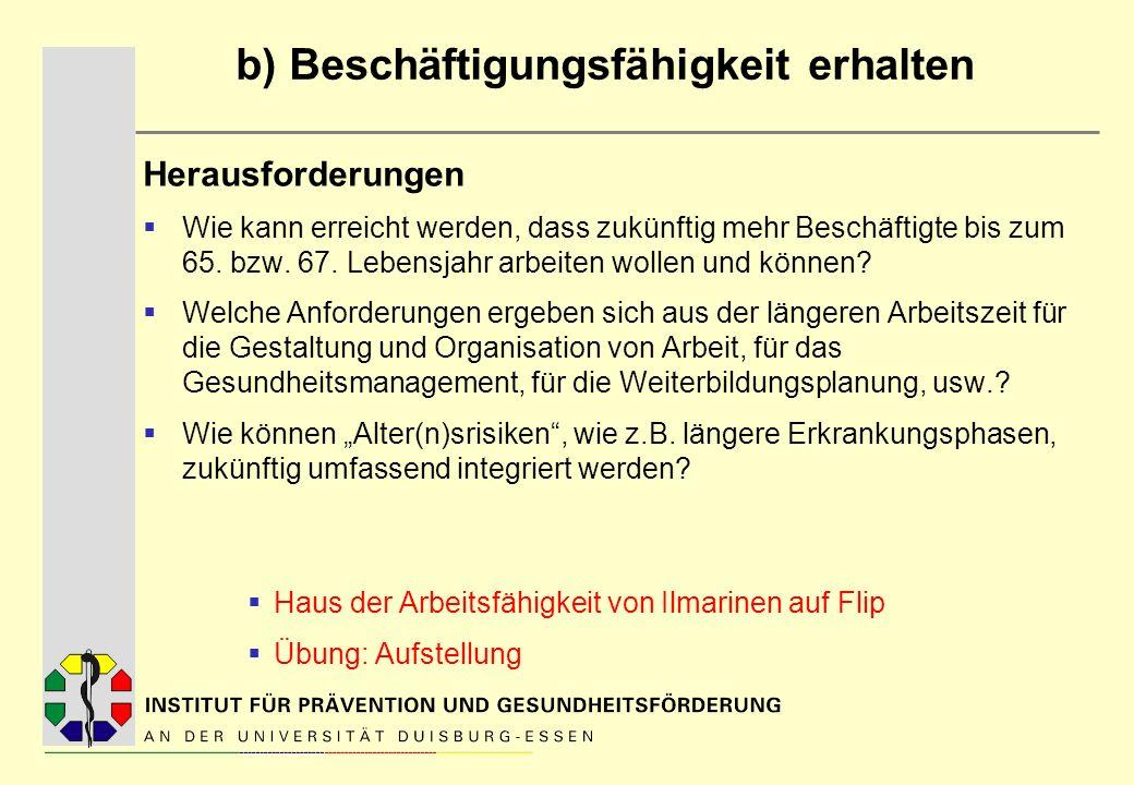 Beschäftigungsfähigkeit Verschiedene Definitionen und Faktoren Konzept und Fragebogeninstrument zur Erfassung: Work-Ability- Index von Ilmarinen (1980; 2002) Drei Komponenten, die sich bedingen und interagieren: A.