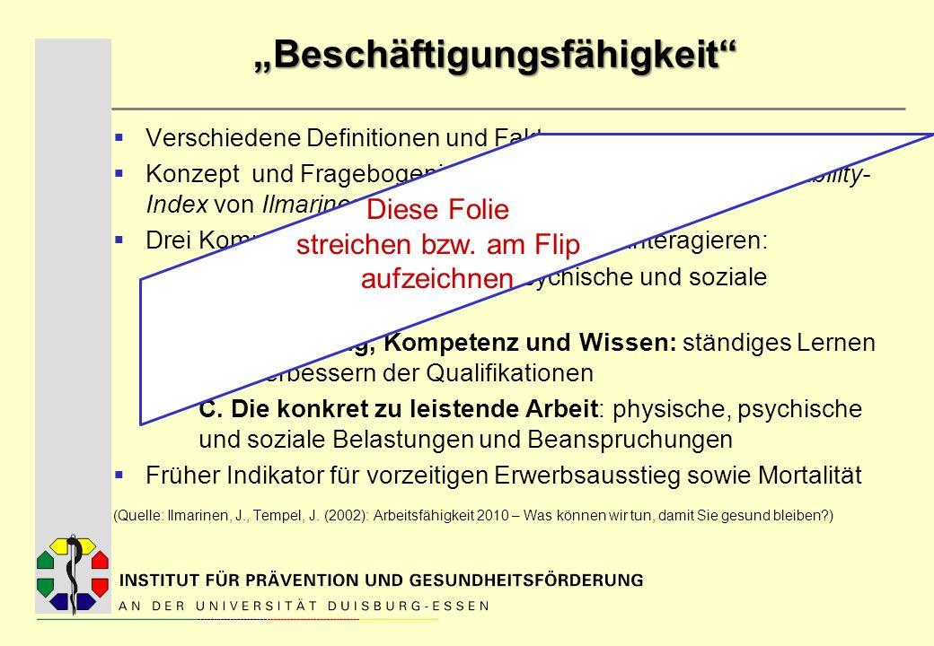 Beschäftigungsfähigkeit Verschiedene Definitionen und Faktoren Konzept und Fragebogeninstrument zur Erfassung: Work-Ability- Index von Ilmarinen (1980