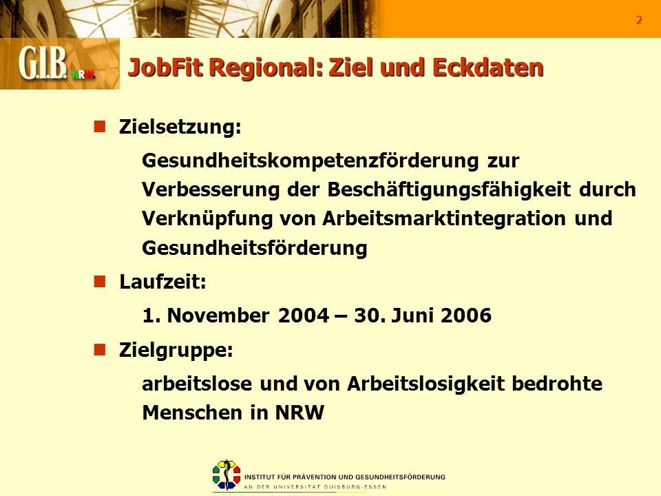 2 JobFit Regional: Ziel und Eckdaten Zielsetzung: Gesundheitskompetenzförderung zur Verbesserung der Beschäftigungsfähigkeit durch Verknüpfung von Arb
