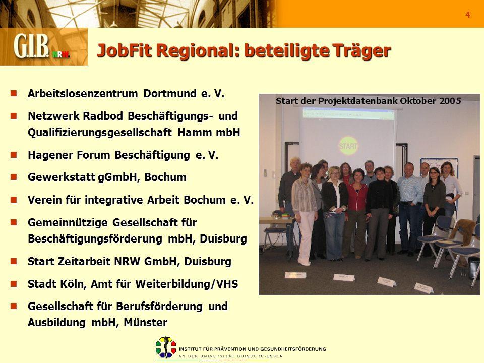 4 JobFit Regional: beteiligte Träger Arbeitslosenzentrum Dortmund e. V. Arbeitslosenzentrum Dortmund e. V. Netzwerk Radbod Beschäftigungs- und Qualifi