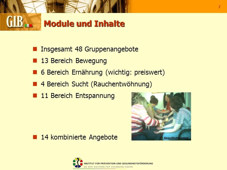7 Module und Inhalte Insgesamt 48 Gruppenangebote 13 Bereich Bewegung 6 Bereich Ernährung (wichtig: preiswert) 4 Bereich Sucht (Rauchentwöhnung) 11 Be