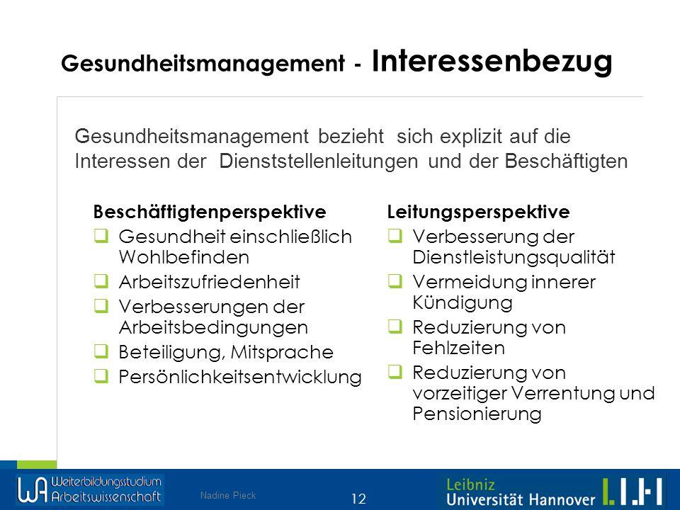 Nadine Pieck 12 Gesundheitsmanagement bezieht sich explizit auf die Interessen der Dienststellenleitungen und der Beschäftigten Gesundheitsmanagement