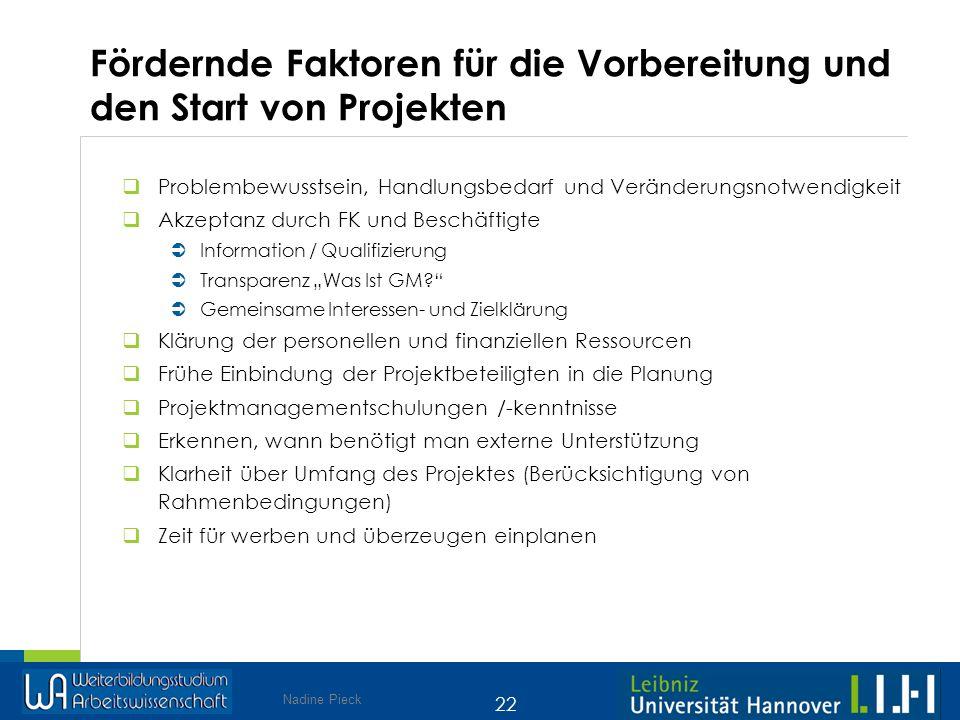 Nadine Pieck 22 Fördernde Faktoren für die Vorbereitung und den Start von Projekten Problembewusstsein, Handlungsbedarf und Veränderungsnotwendigkeit