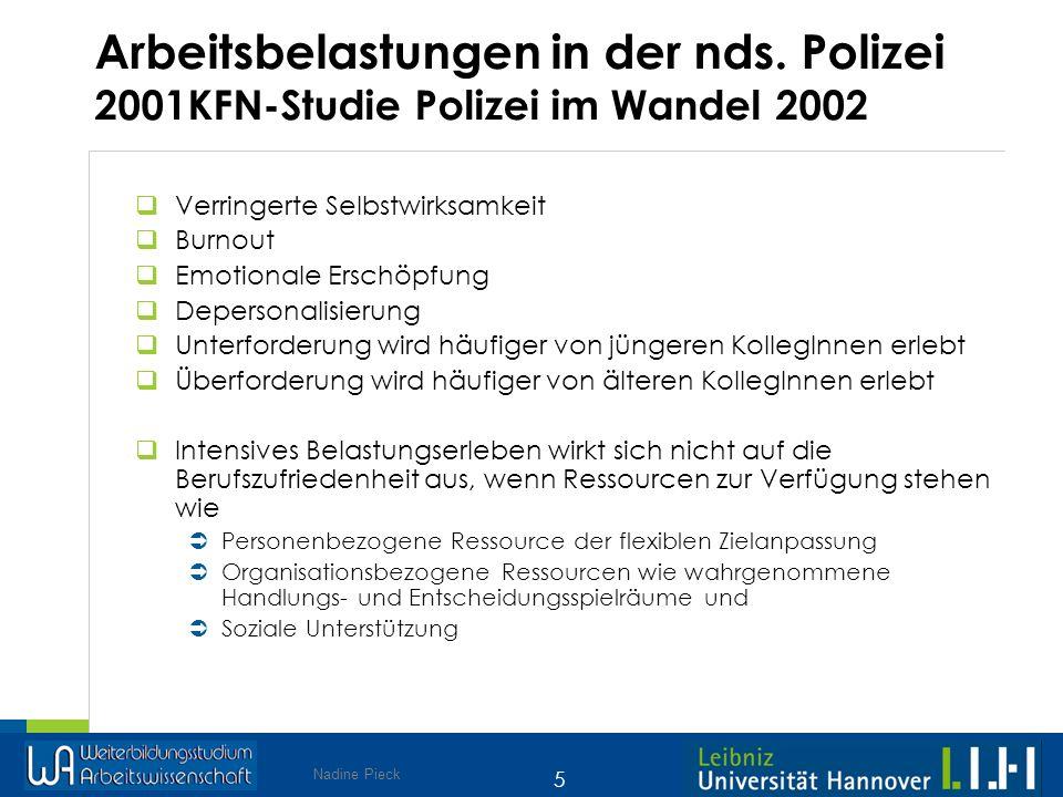 Nadine Pieck 5 Arbeitsbelastungen in der nds. Polizei 2001KFN-Studie Polizei im Wandel 2002 Verringerte Selbstwirksamkeit Burnout Emotionale Erschöpfu