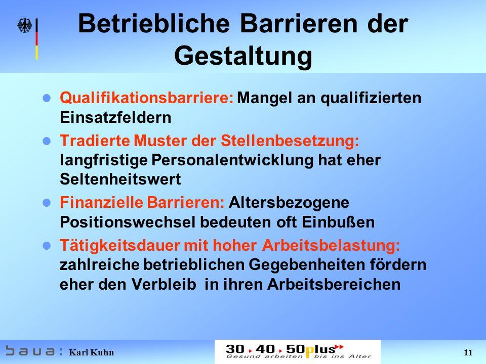 Karl Kuhn 11 Betriebliche Barrieren der Gestaltung Qualifikationsbarriere: Mangel an qualifizierten Einsatzfeldern Tradierte Muster der Stellenbesetzu