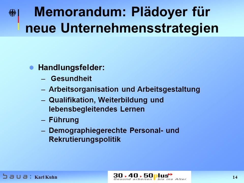 Karl Kuhn 14 Memorandum: Plädoyer für neue Unternehmensstrategien Handlungsfelder: – Gesundheit –Arbeitsorganisation und Arbeitsgestaltung –Qualifikation, Weiterbildung und lebensbegleitendes Lernen –Führung –Demographiegerechte Personal- und Rekrutierungspolitik