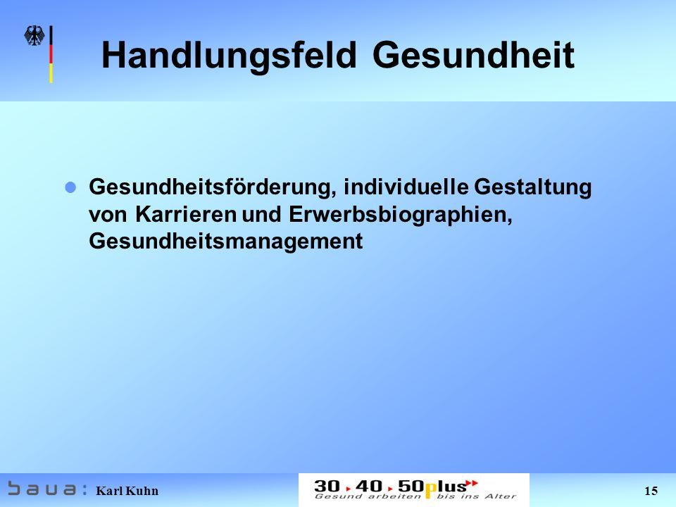 Karl Kuhn 15 Handlungsfeld Gesundheit Gesundheitsförderung, individuelle Gestaltung von Karrieren und Erwerbsbiographien, Gesundheitsmanagement