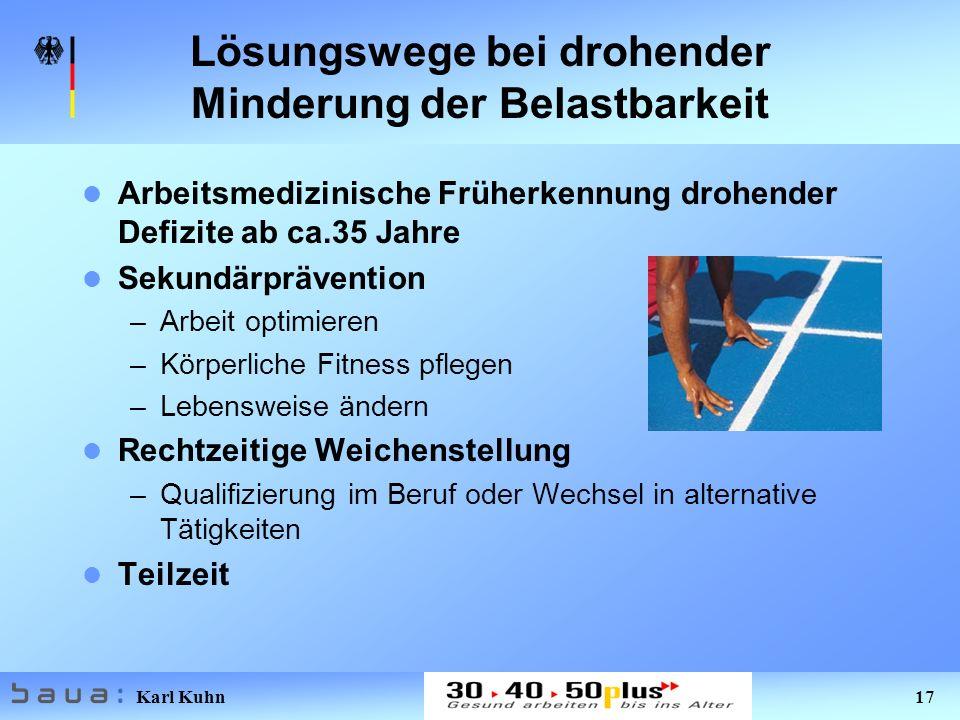 Karl Kuhn 17 Lösungswege bei drohender Minderung der Belastbarkeit Arbeitsmedizinische Früherkennung drohender Defizite ab ca.35 Jahre Sekundärprävent