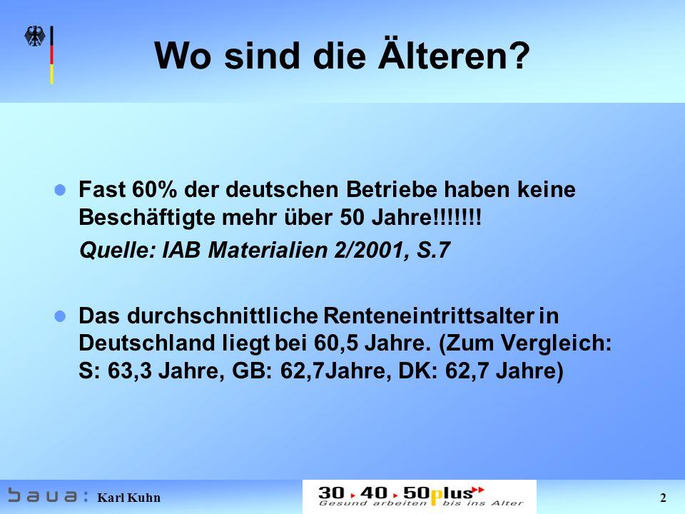 Karl Kuhn 2 Wo sind die Älteren? Fast 60% der deutschen Betriebe haben keine Beschäftigte mehr über 50 Jahre!!!!!!! Quelle: IAB Materialien 2/2001, S.