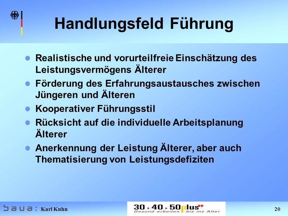 Karl Kuhn 20 Handlungsfeld Führung Realistische und vorurteilfreie Einschätzung des Leistungsvermögens Älterer Förderung des Erfahrungsaustausches zwi