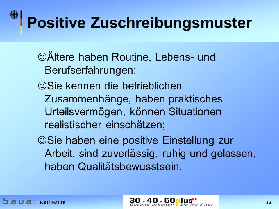 Karl Kuhn 22 Positive Zuschreibungsmuster Ältere haben Routine, Lebens- und Berufserfahrungen; Sie kennen die betrieblichen Zusammenhänge, haben prakt