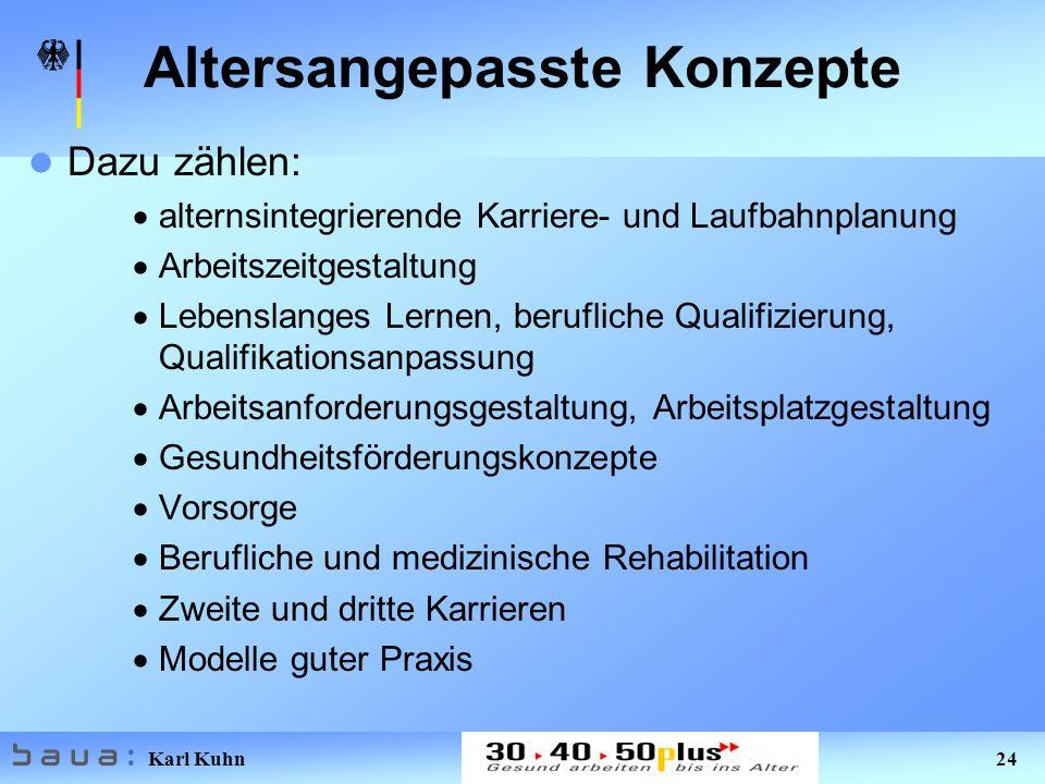 Karl Kuhn 24 Altersangepasste Konzepte Dazu zählen: alternsintegrierende Karriere- und Laufbahnplanung Arbeitszeitgestaltung Lebenslanges Lernen, beru