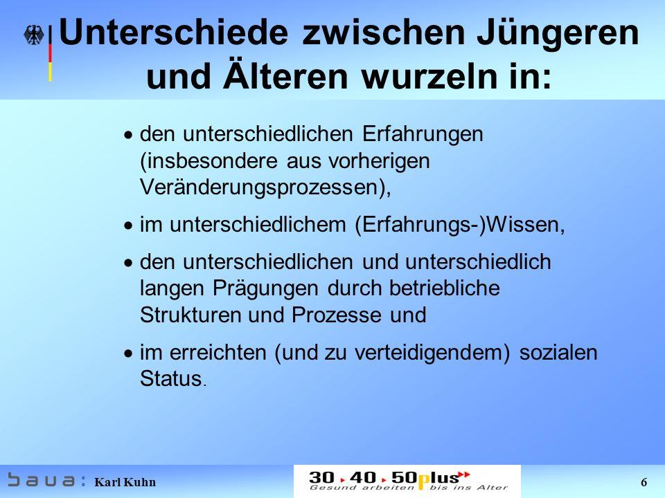 Karl Kuhn 6 Unterschiede zwischen Jüngeren und Älteren wurzeln in: den unterschiedlichen Erfahrungen (insbesondere aus vorherigen Veränderungsprozesse