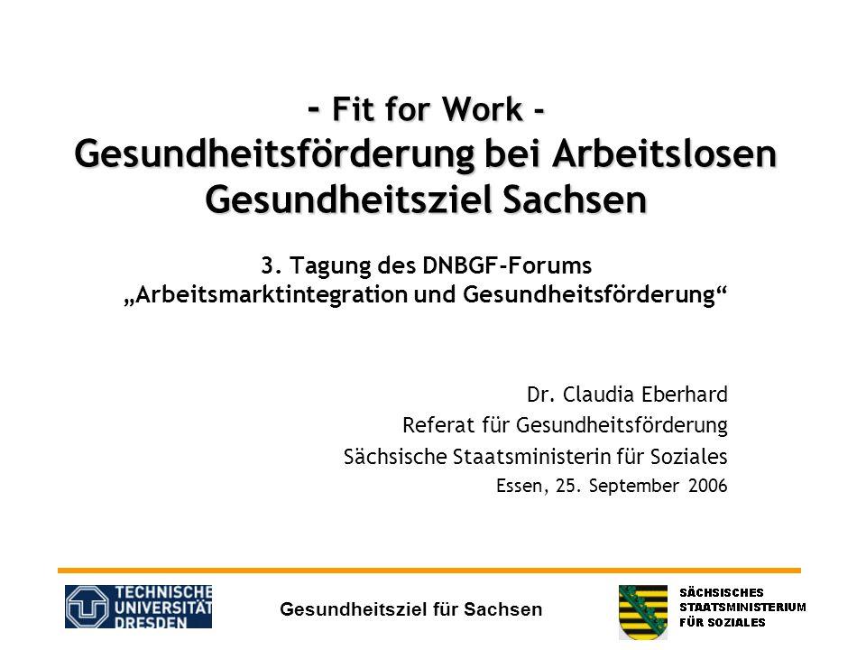Gesundheitsziel für Sachsen - Fit for Work - Gesundheitsförderung bei Arbeitslosen Gesundheitsziel Sachsen - Fit for Work - Gesundheitsförderung bei A