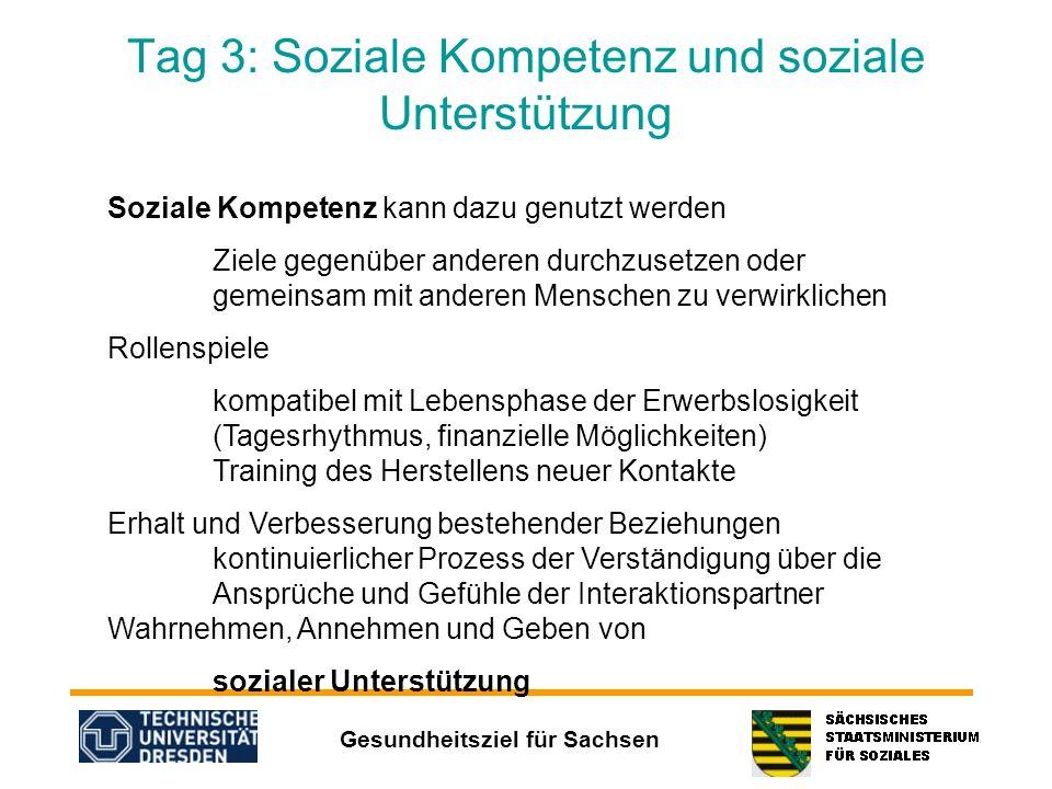 Gesundheitsziel für Sachsen Tag 3: Soziale Kompetenz und soziale Unterstützung Soziale Kompetenz kann dazu genutzt werden Ziele gegenüber anderen durc