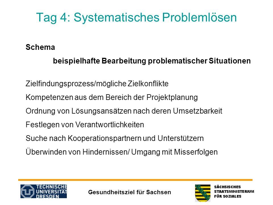 Gesundheitsziel für Sachsen Tag 4: Systematisches Problemlösen Schema beispielhafte Bearbeitung problematischer Situationen Zielfindungsprozess/möglic