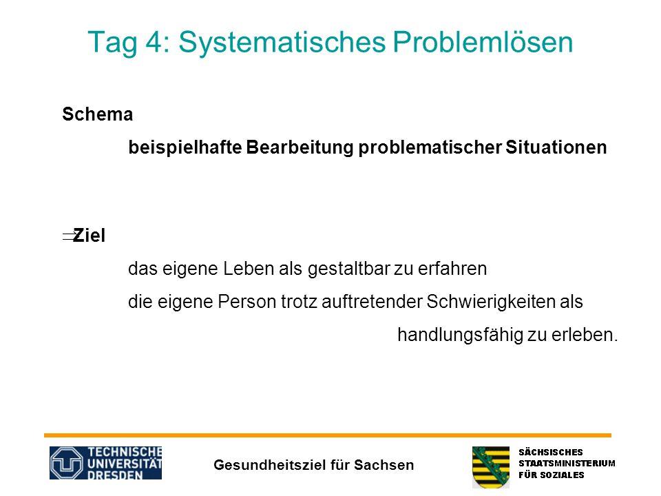 Gesundheitsziel für Sachsen Tag 4: Systematisches Problemlösen Schema beispielhafte Bearbeitung problematischer Situationen Ziel das eigene Leben als