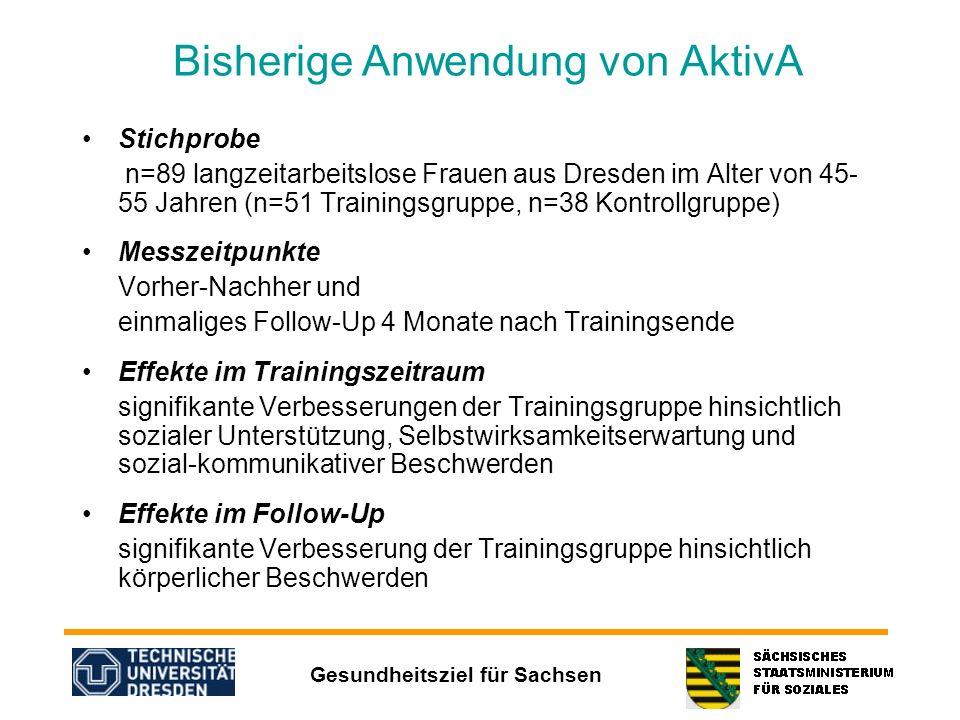 Gesundheitsziel für Sachsen Bisherige Anwendung von AktivA Stichprobe n=89 langzeitarbeitslose Frauen aus Dresden im Alter von 45- 55 Jahren (n=51 Tra
