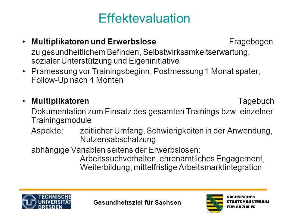 Gesundheitsziel für Sachsen Effektevaluation Multiplikatoren und Erwerbslose Fragebogen zu gesundheitlichem Befinden, Selbstwirksamkeitserwartung, soz