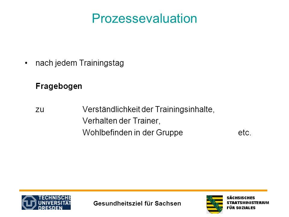 Gesundheitsziel für Sachsen Prozessevaluation nach jedem Trainingstag Fragebogen zu Verständlichkeit der Trainingsinhalte, Verhalten der Trainer, Wohl