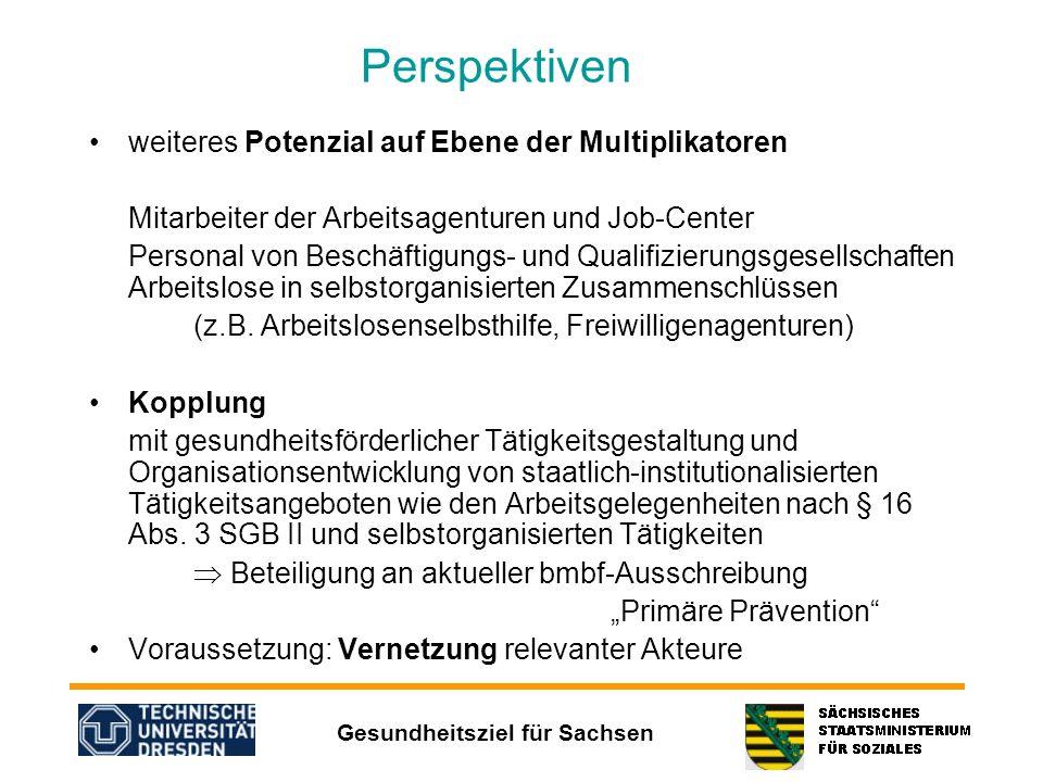 Gesundheitsziel für Sachsen Perspektiven weiteres Potenzial auf Ebene der Multiplikatoren Mitarbeiter der Arbeitsagenturen und Job-Center Personal von
