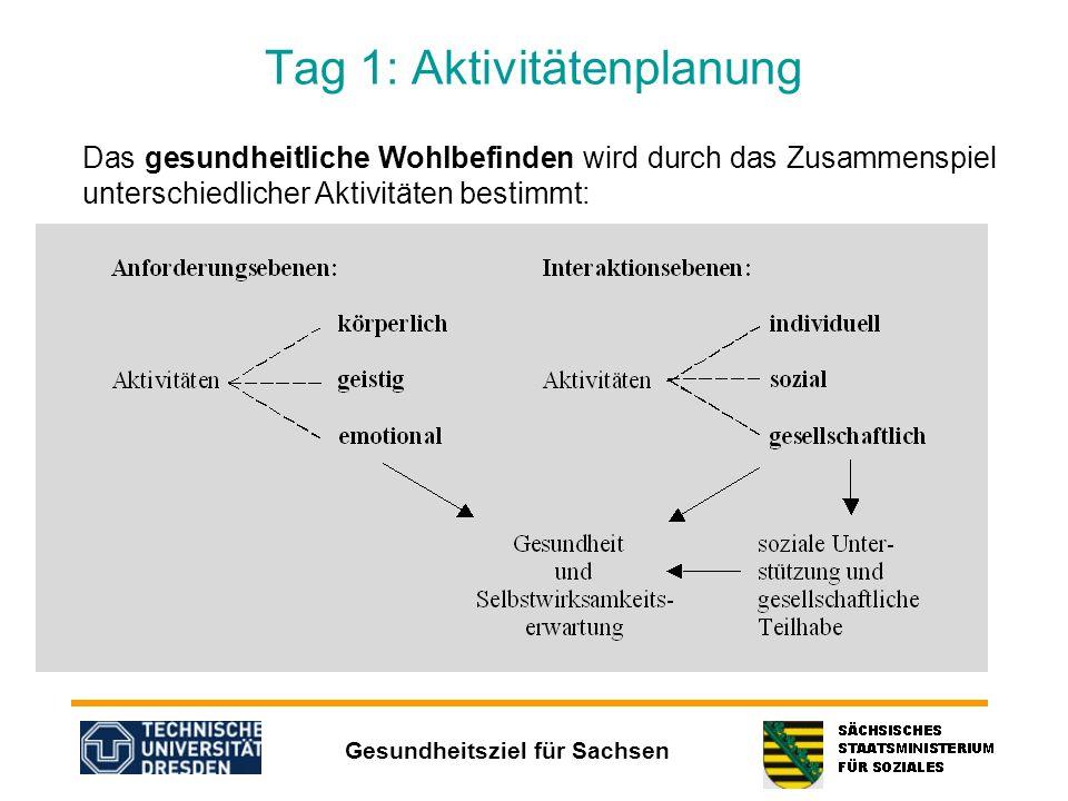Gesundheitsziel für Sachsen Tag 1: Aktivitätenplanung Das gesundheitliche Wohlbefinden wird durch das Zusammenspiel unterschiedlicher Aktivitäten best
