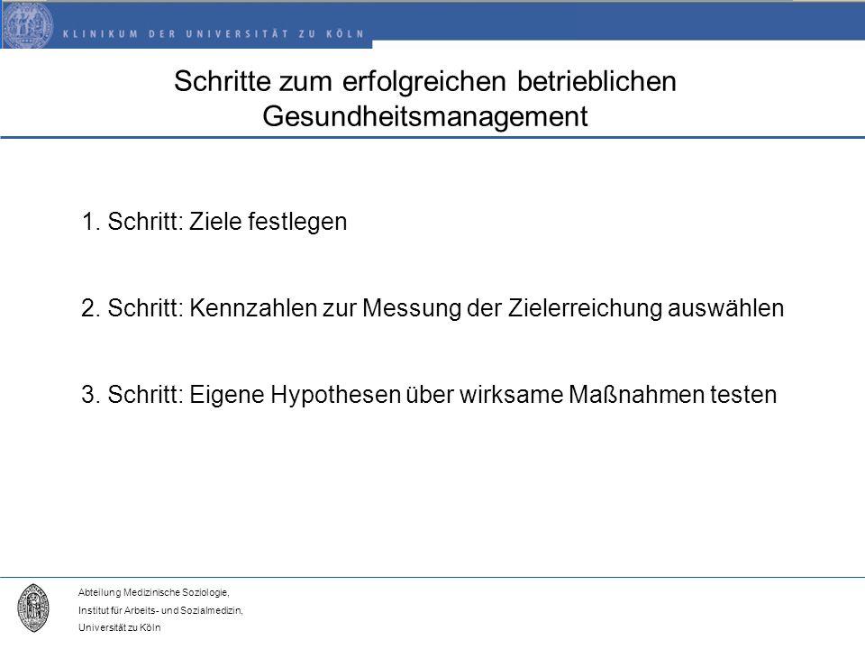 Abteilung Medizinische Soziologie, Institut für Arbeits- und Sozialmedizin, Universität zu Köln Schritte zum erfolgreichen betrieblichen Gesundheitsmanagement 1.
