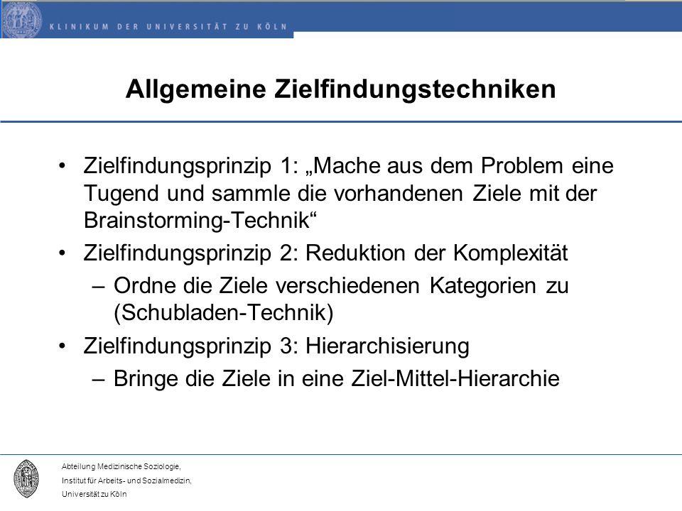 Abteilung Medizinische Soziologie, Institut für Arbeits- und Sozialmedizin, Universität zu Köln Allgemeine Zielfindungstechniken Zielfindungsprinzip 1: Mache aus dem Problem eine Tugend und sammle die vorhandenen Ziele mit der Brainstorming-Technik Zielfindungsprinzip 2: Reduktion der Komplexität –Ordne die Ziele verschiedenen Kategorien zu (Schubladen-Technik) Zielfindungsprinzip 3: Hierarchisierung –Bringe die Ziele in eine Ziel-Mittel-Hierarchie
