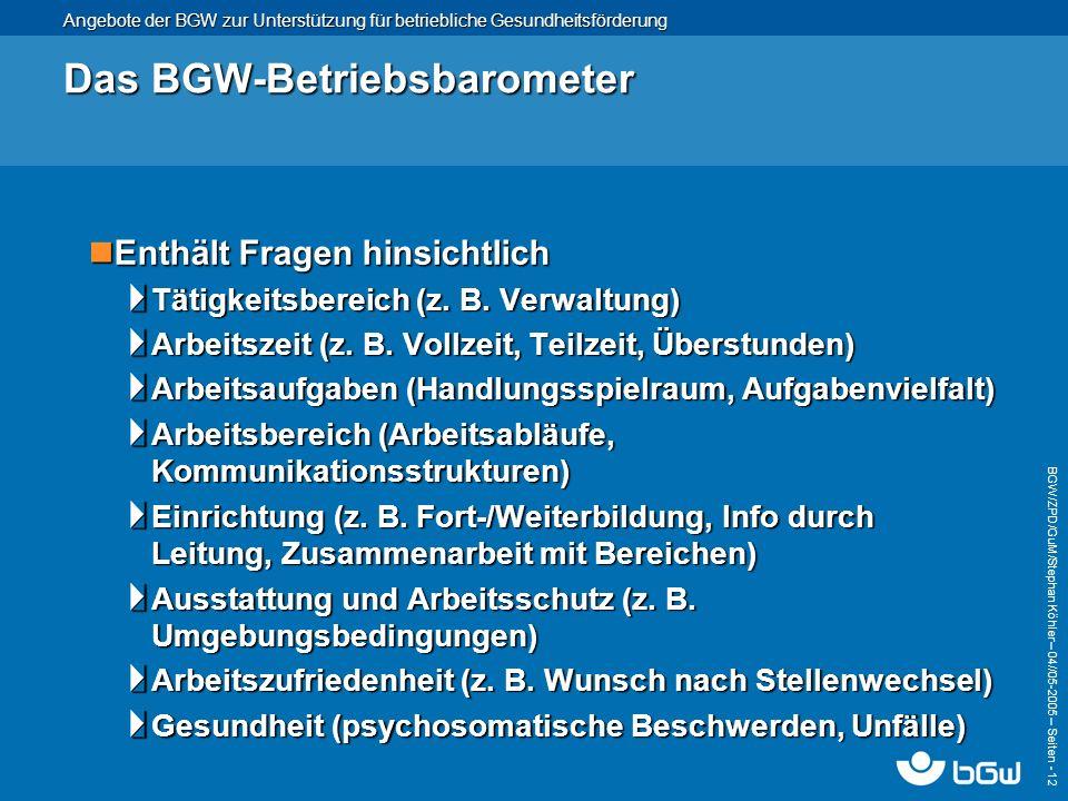 Angebote der BGW zur Unterstützung für betriebliche Gesundheitsförderung BGW/ZPD/GuM/Stephan Köhler – 04// 05-2005 – Seiten - 12 Das BGW-Betriebsbarom