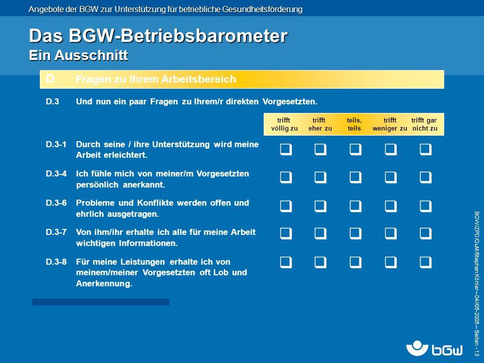 Angebote der BGW zur Unterstützung für betriebliche Gesundheitsförderung BGW/ZPD/GuM/Stephan Köhler – 04// 05-2005 – Seiten - 13 Das BGW-Betriebsbarom