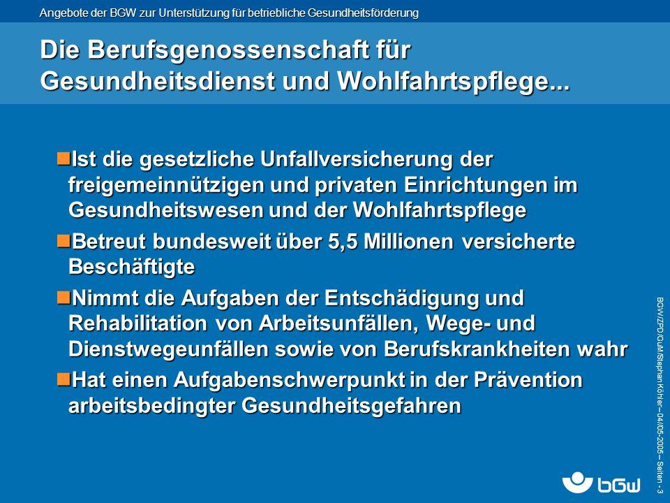 Angebote der BGW zur Unterstützung für betriebliche Gesundheitsförderung BGW/ZPD/GuM/Stephan Köhler – 04// 05-2005 – Seiten - 4 Der Bereich Gesundheits- und Mobilitätsmanagement...