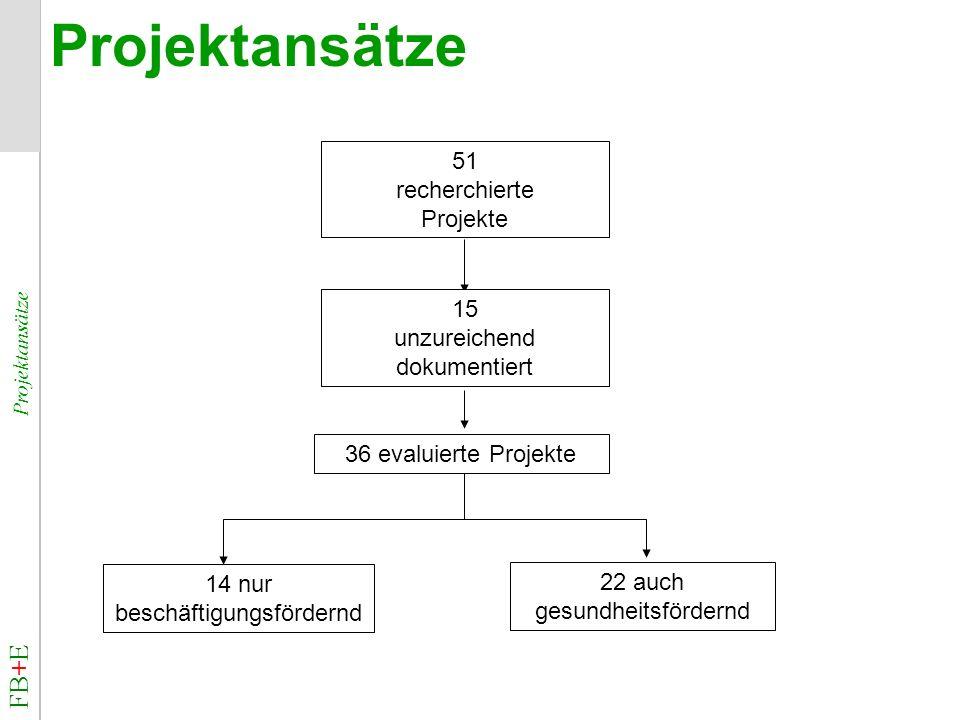 FB+E Projektansätze Projektansätze 51 recherchierte Projekte 15 unzureichend dokumentiert 36 evaluierte Projekte 22 auch gesundheitsfördernd 14 nur be
