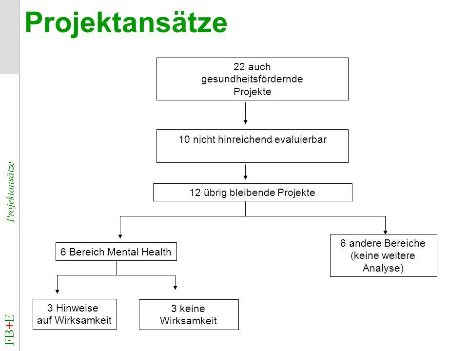 FB+E Projektansätze Projektansätze 22 auch gesundheitsfördernde Projekte 10 nicht hinreichend evaluierbar 12 übrig bleibende Projekte 6 andere Bereich