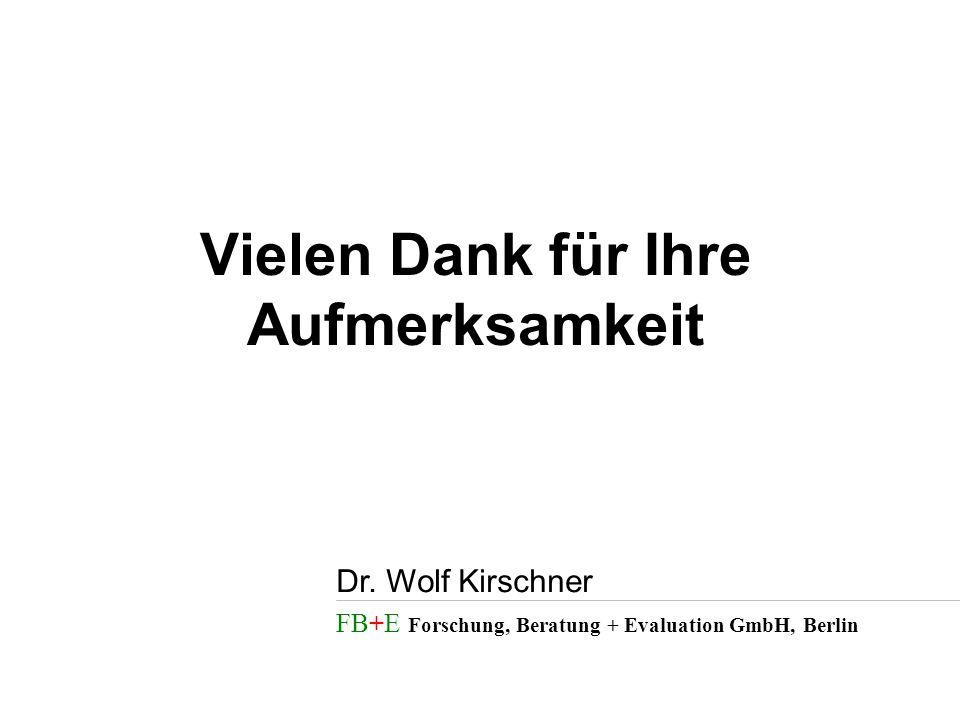 FB+E Forschung, Beratung + Evaluation GmbH, Berlin Dr. Wolf Kirschner Vielen Dank für Ihre Aufmerksamkeit