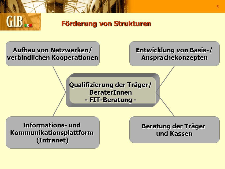 5 Förderung von Strukturen Förderung von Strukturen Informations- und Kommunikationsplattform(Intranet) Entwicklung von Basis-/ Ansprachekonzepten Auf