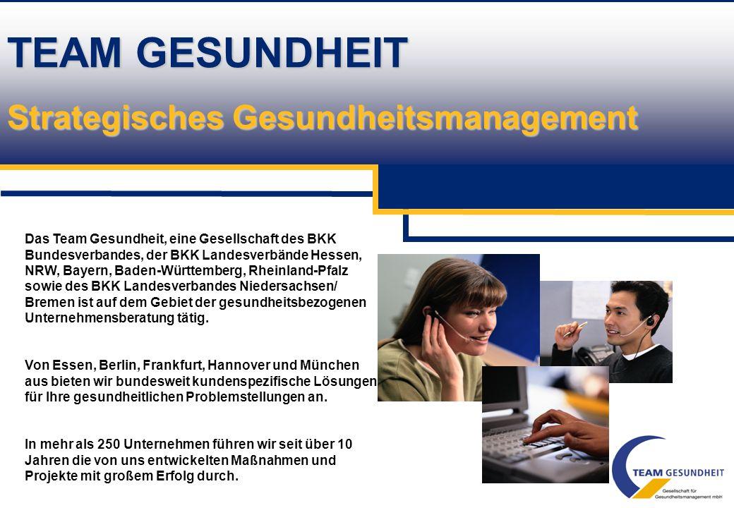 Betriebliche Gesundheitsförderung durch die Team Gesundheit GmbH Maßnahmen zur Analyse der gesundheitlichen Situation im Betrieb und Instrumente zur I