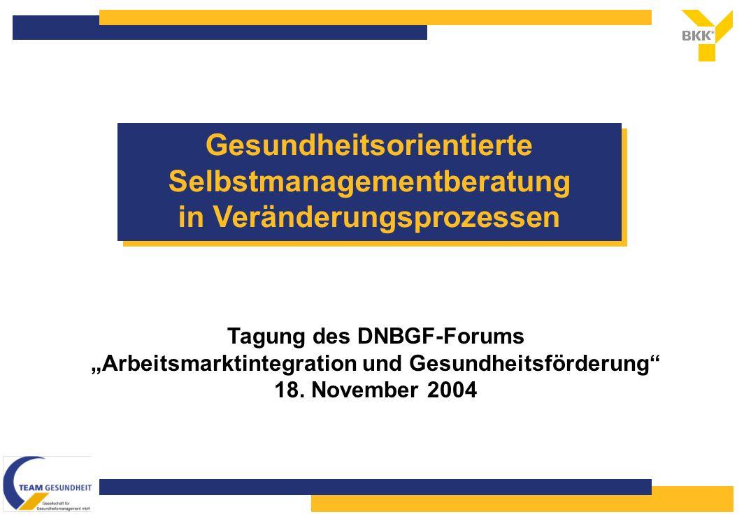 Gesundheitsorientierte Selbstmanagementberatung in Veränderungsprozessen Tagung des DNBGF-Forums Arbeitsmarktintegration und Gesundheitsförderung 18.